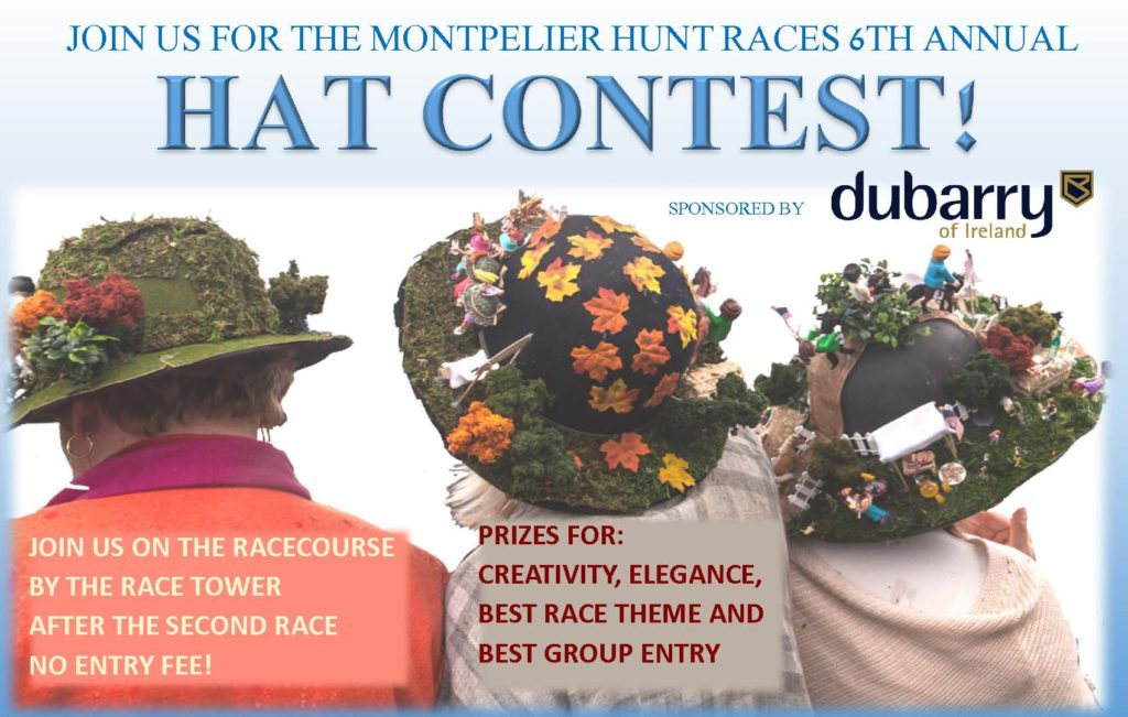 Join us for the Montpelier Hunt Races 6th Annual Hat Contest sponsored by dubarry of Ireland